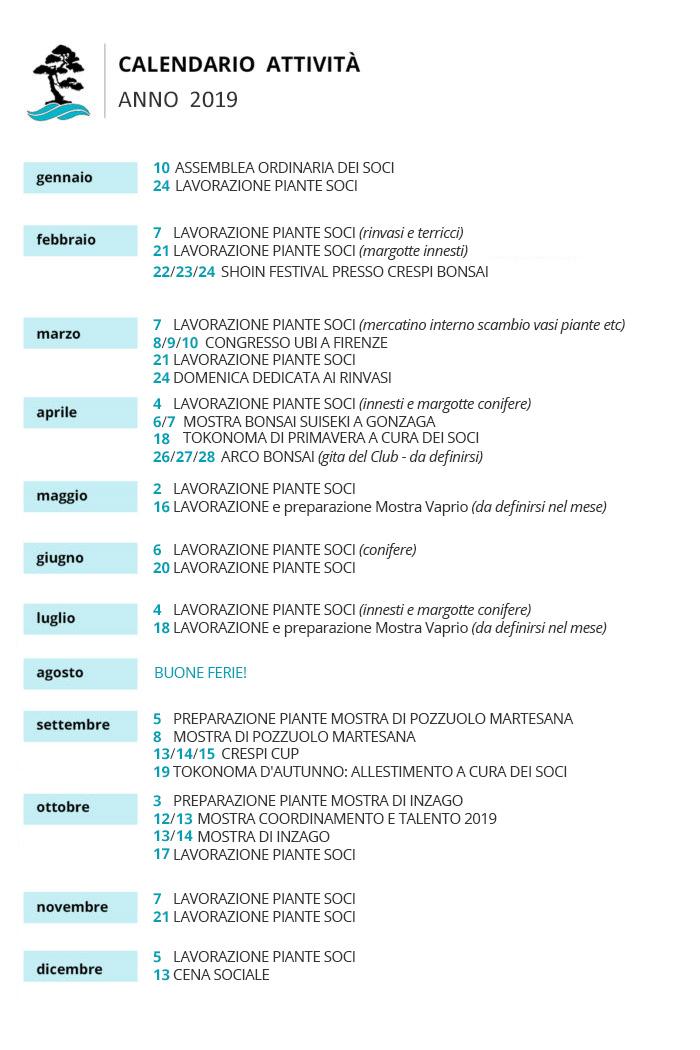 Calendario Innesti.Le Attivita Bonsai Club Martesana