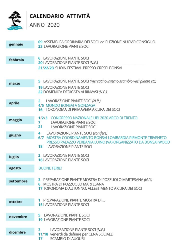 calendario attività 2020